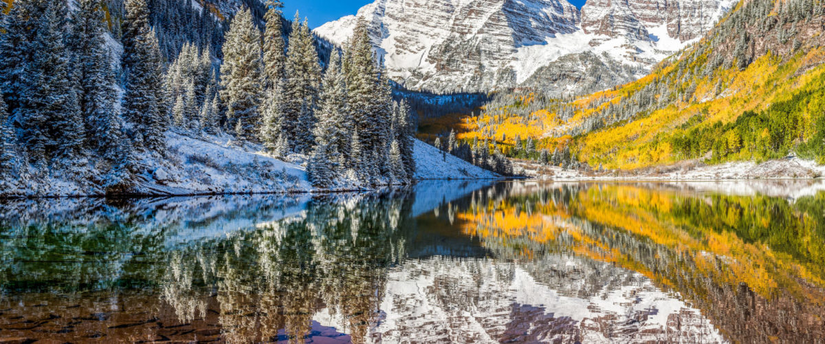22901517 - winter and fall foliage at maroon bells, aspen, co