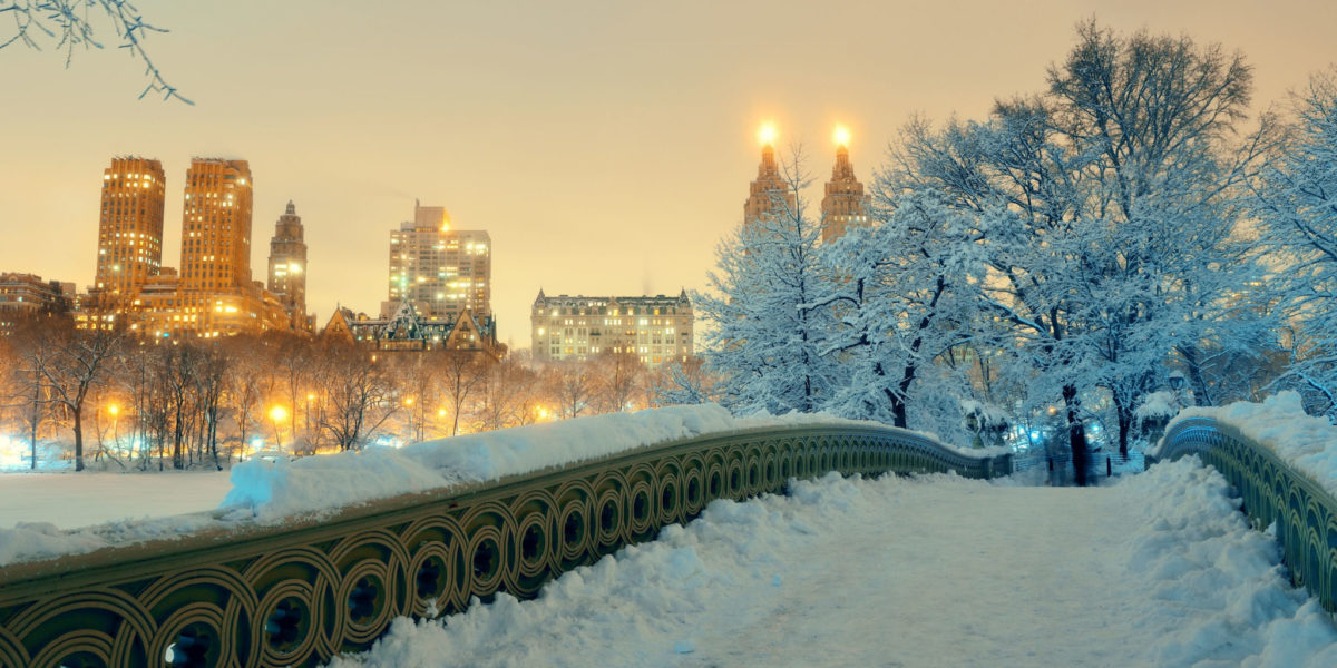 59100869 - central park winter with skyscrapers and bow bridge in midtown manhattan new york city