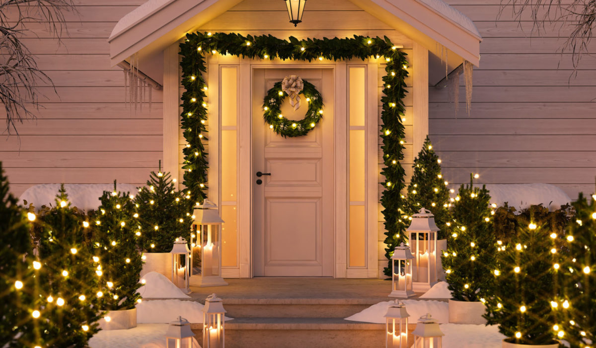 89673652 - christmas decorated porch with little trees and lanterns. 3d rendering